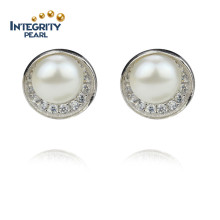 925 Silver 9mm AAA Button Perles de culture en eau douce Earings