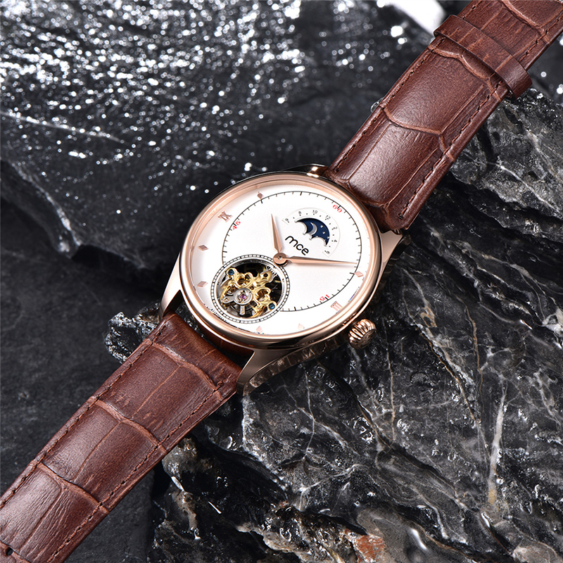 Stainless Steel Moon Phase Mechanical Man Watch