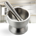stainless steel double walled mortar spice grinder with pestle