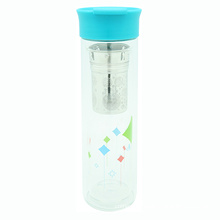Double Wall Glass Bottle with Strainer 380ml