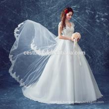 Alto quanlity Último vestido bajo del V-cuello vestido de boda del vestido