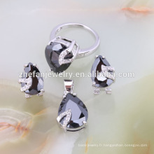 Bijoux de mode lourd collier en gros perle noire ensemble de bijoux