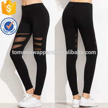 Black Mesh Insert Leggings OEM/ODM Manufacture Wholesale Fashion Women Apparel (TA7037L)
