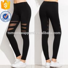 Inserção de malha preta leggings OEM / ODM fabricação atacado moda feminina vestuário (TA7037L)