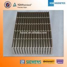 N35 D2X20mm imán de Rod de neodimio con recubrimiento de níquel