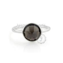 Beautiful Smoky Quartz Gemstone New Design Damas anel de dedo para mulheres no atacado