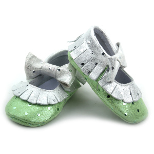 Fashion Cute Girls Shoes Baby Metallic Bow Moccasins