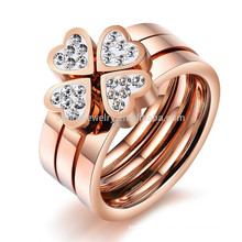 2015 New Clover jewelry rose gold ring with diamonds triple ring a ring three sets of titanium steel ring GJ420 love to wear