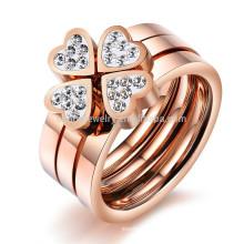 2015 New Clover jóias anel de ouro rosa com diamantes anel triplo um anel de três conjuntos de anel de aço de titânio GJ420 amor para vestir