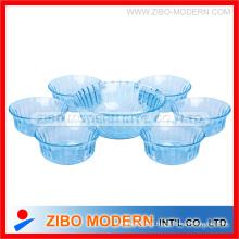 7PC Farbe Glas Salat Schüssel Set