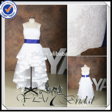 RSW536 Plus Size Front Curto e Longo Back Royal-Blue-And-White-Wedding-Dresses