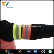 Cheap custom fluorescent green reflective fabric armband for sport