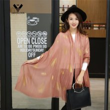 2016 Latest Women′s Leaf Foil Print Oblong Cotton Linen Scarf