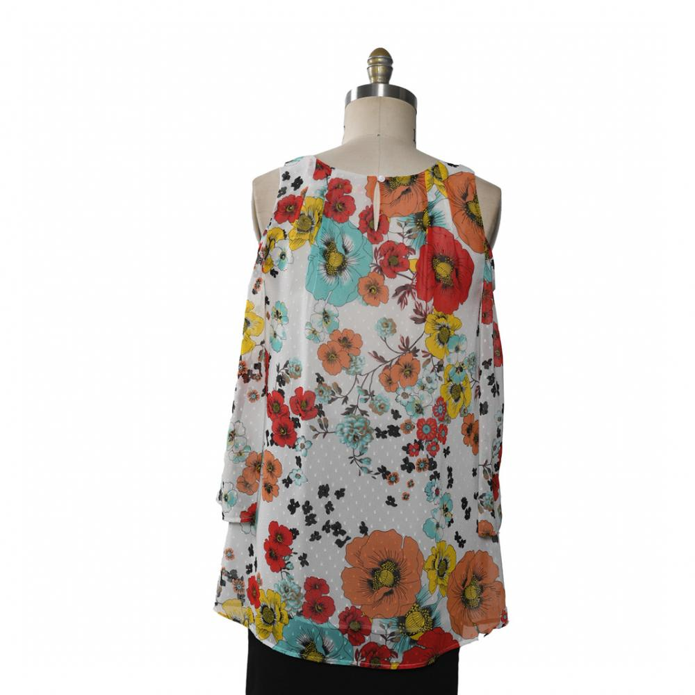 Ladies Blouse Printed Flowers Chiffon