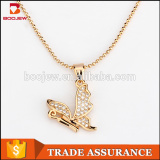 2017 beautiful jewelry graceful zircon butterfly pendant necklace for women