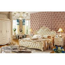 Perle weiße Farbe Neoklassizistische Art Normalholz-Leder-Schlafzimmer-Satz (HF-MG806)