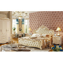 Pearl White Color Estilo Neoclássico Solidwood Leather Bedroom Set (HF-MG806)