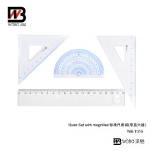 2016 Plastic Ruler Office Stationery Set with Magnifier