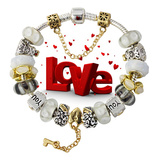 Valentine Gifts Beautiful White Glass Beads Love Key Charm Bracelet Af51