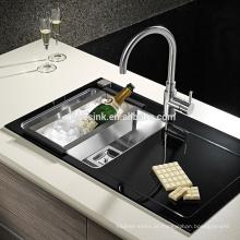 Dissipador de cozinha de vidro de aço inoxidável com escorredor, aço inoxidável Dissipador de cozinha de vidro de aço inoxidável com escorredor de vidro