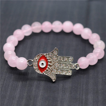 Rose Quartz 8MM Round Beads Stretch Gemstone Bracelet with Diamante Evil eye Piece