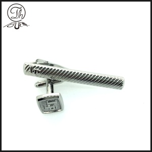 Silver Cufflink and tie clip gift set