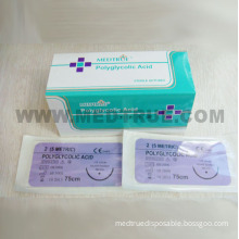 CE/ISO Approved Medical Disposable Rapid Polyglycolic Acid Surgical Suture with Needle (MT580B0704)