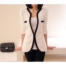 Korean Style Fashion Slim Fitting Black White Women One Button Suit Coat