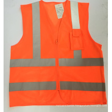 100% Polyester Reflective Vest with Chest Pockets