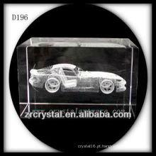K9 3D Laser subsurface carro dentro de cristal retângulo