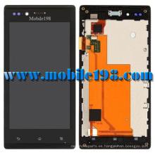 para Sony Xperia J St26I LCD y pantalla táctil con marco