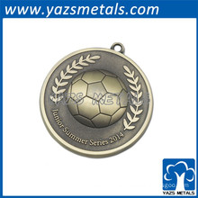 brass soccer medal with ribbon
