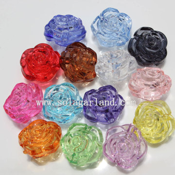 Transparent Colors Acrylic Plastic Carved Rose Beads