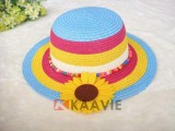 wholesale boho striped beach straw hat for kids
