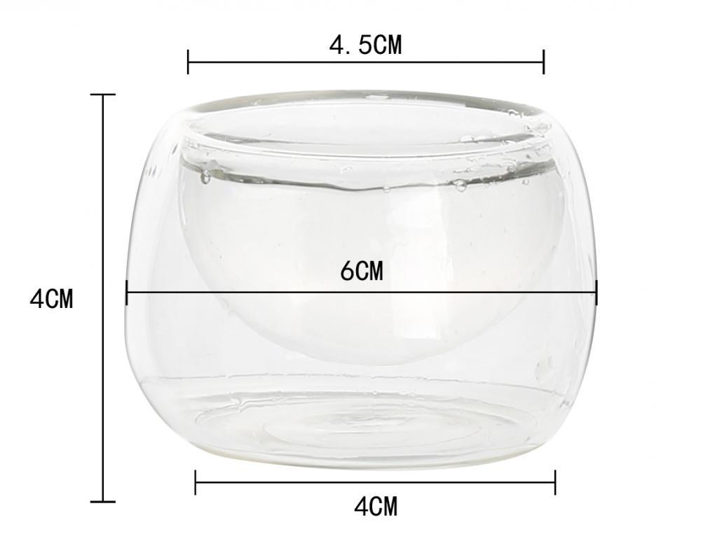 Promotional Gift Glassware Double Wall Handle Glass Tea Cup