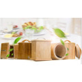 Rubber Wood Square Seal Caddy Stoarge Box