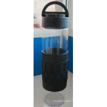 Glass Water Bottle with Silicone Sleeve PP Lid /385g 520ml