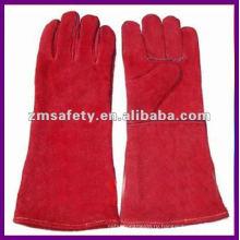 Красная корова сплит кожа сварки перчатки для промышленности, работающих ZMR104