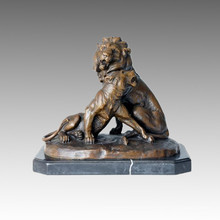 Animal Bronze Sculpture Lion Couple Carving Deco Brass Statue Tpal-153