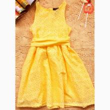 Девочки Новое желтое летнее платье Модное платье принцессы