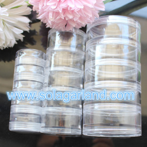 5 Layer Clear Plastic Storage Containers Round Multilayer Jewelry Box