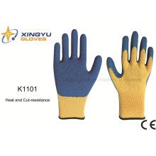 10g de láminas de látex de fibra de meta-aramida calor y cortar resistencia guante de trabajo de seguridad (K1101)