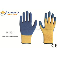 10g Meta-Aramid Fibre Latex Crinkle Heat&Cut Resistance Safety Work Glove (K1101)