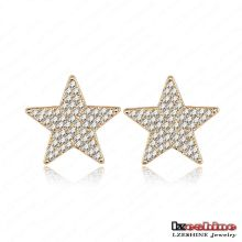 Full Rhinestoen Five-Point Star Meninas Stud Earrings Moda (ER0020-C)