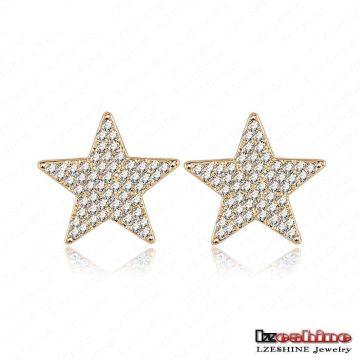 Full Rhinestoen Five-Point Star Girls Stud Earrings Fashion (ER0020-C)