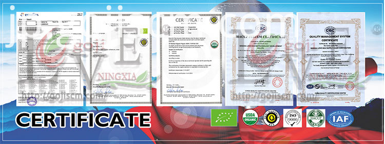 Factory Supply Goji Berry Juice certificate