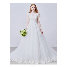 A-line style strapless Capped sleeve wholesale price custom wedding dress TS155