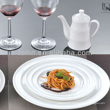 Hotel and restaurant use high quality white ceramic porcelain dinner plate