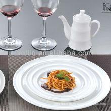 Hotel e restaurante de alta qualidade de cerâmica branca placa de jantar de porcelana