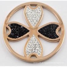 Placa da moeda do cravo-da-índia do ouro de Rosa com Zirconia preto & branco